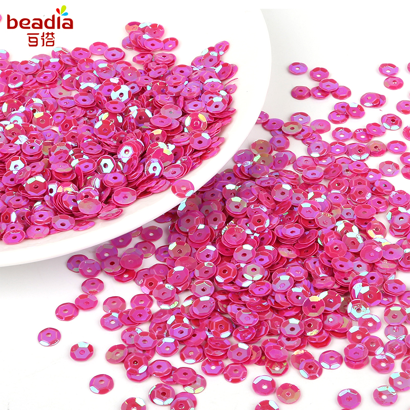 Magenta 7mm Metallic Round Cupped Sequins 20g - approx 2000
