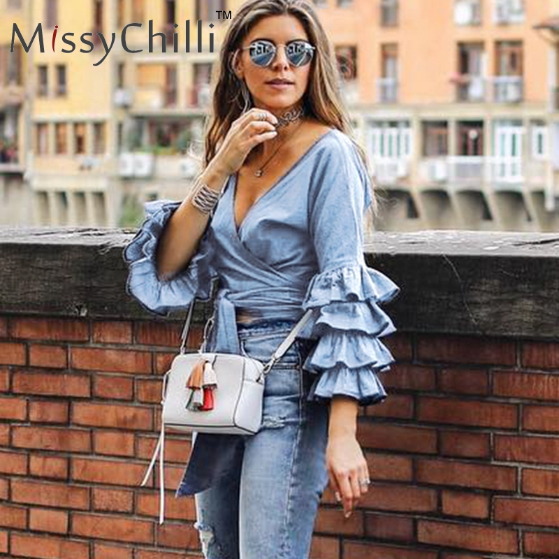 MissyChilli Ruffle blue denim women   blouse     shirt   V neck streetwear lace up summer top tees Kimono wrap bow crop top fashion 2018