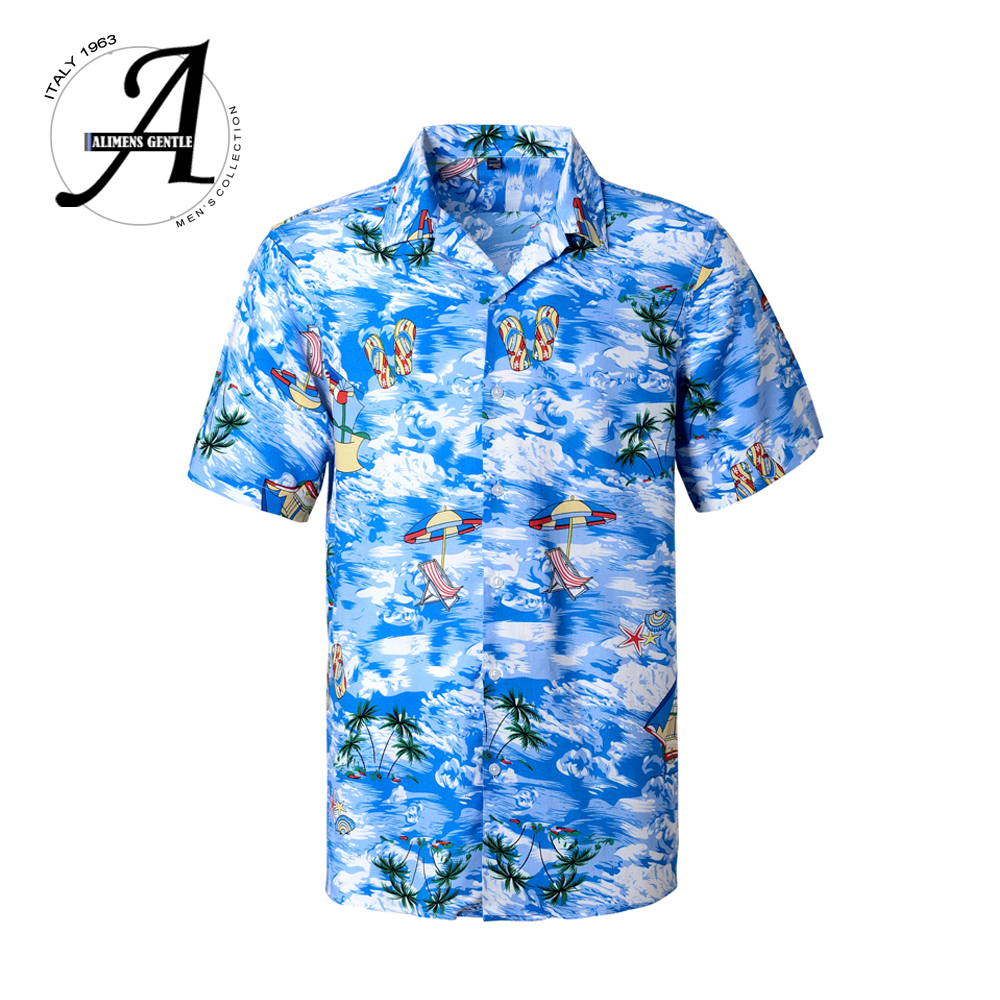 2019 Brand New Mens Short Sleeve Beach Hawaiian Shirts Summer Cotton Casual Floral Shirts Plus Size 6XL Mens clothing Fashion