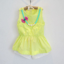 2016 Summer Baby Girls Children Clothes set Suits Doll Butterfly Shirts+Shorts Clothing Kids 2pcs Twinsets (Include Necklace)