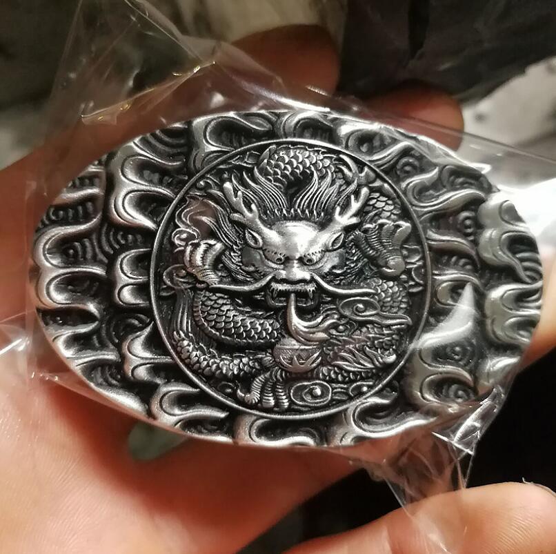 999 Silver Dragon Oval Belt Buckle Jewelry