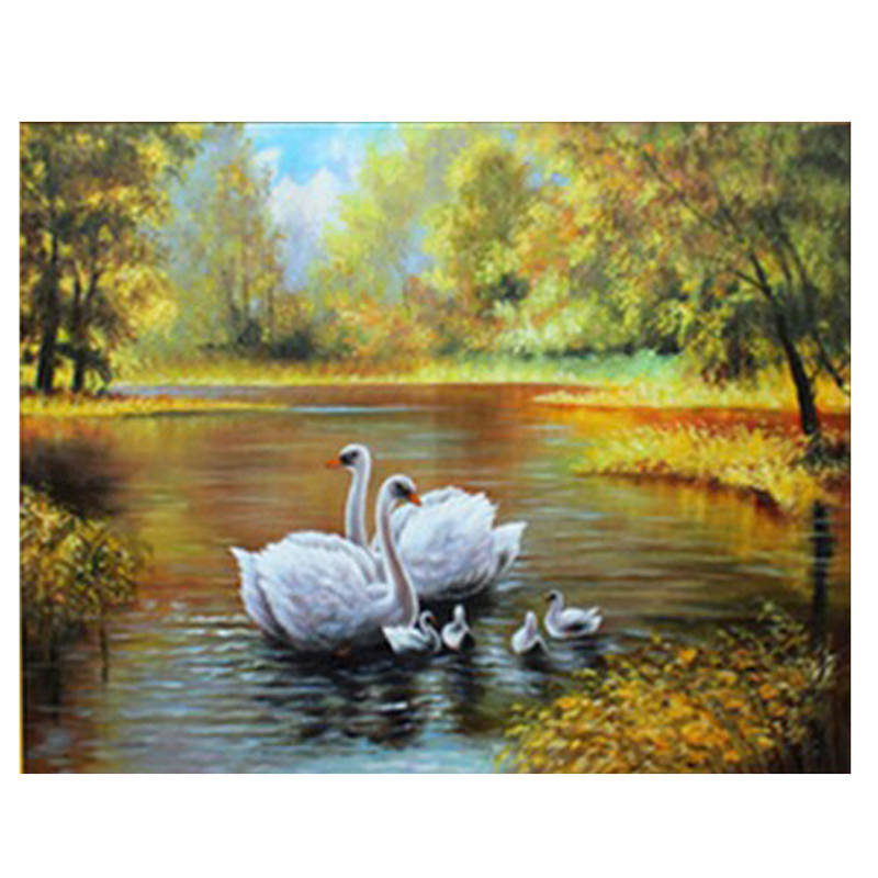 NEW 100% Full Square Drill Diamond Embroidery Swans Family Look Picture 3D Diamond Painting cross stitch Mosaic kits Wall Decor