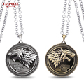 """1PC Free Shipping Game of Thrones Necklace House Stark Winter Is Coming Bronze 2"""" Metal Family Crest Pendant Keychain Souvenirs"""