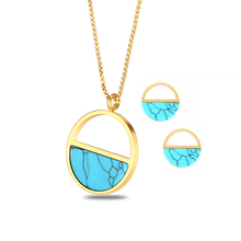Stainless Steel Women Turquoises Stone Round Necklace with Earrings Jewelry Sets For Wedding Bride