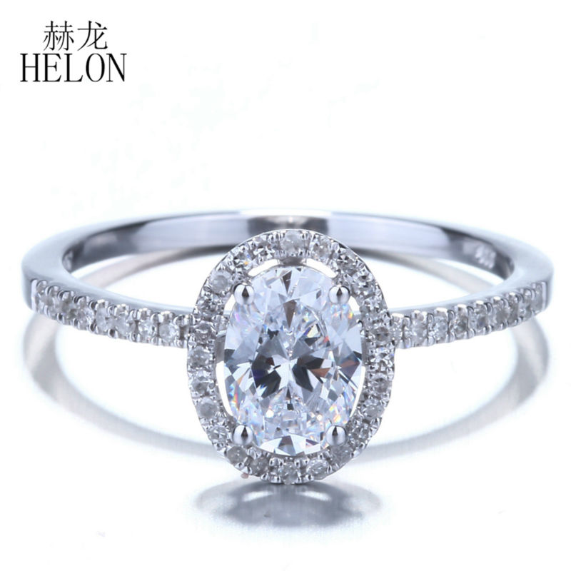 HELON 7x5mm Oval Cubic Zirconia Solid 14K White Gold Engagement Wedding Pave Natural Diamonds Ring For Women's Jewelry Fine Ring