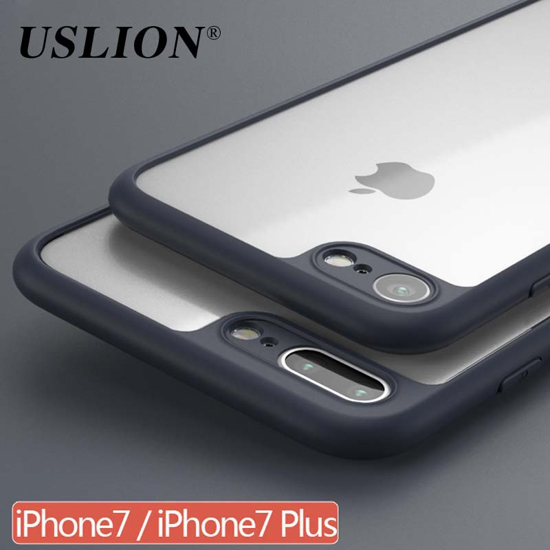 For iPhone 6 6s 7 7 Plus Phone Cases Fashion Transparent Hard PC Phone Back Cover With Soft Frame Case Coque For iPhone 7Plus