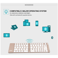 portable aluminum B.O.W  Light and portable Folded Bluetooth Keyboard, Aluminum Metal Wireless Mini Keyboard Case for Tablet/iPad /iPhone 8 7 (4)
