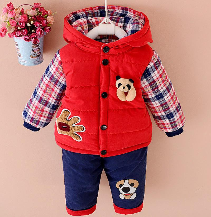 2016 Winter Autumn Kids Thicken Sets Baby Boys Plus Velvet Hoddies Coat+Pants Two Piece Suit Cotton Children's Kids Clothes