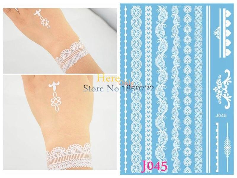 1PC Cheap Wrist Strap Tattoo White Wristband Henna Tattoo Fake Jewelry Temporary Bracelet Tatoo Choker Necklace Tattoo Stickers