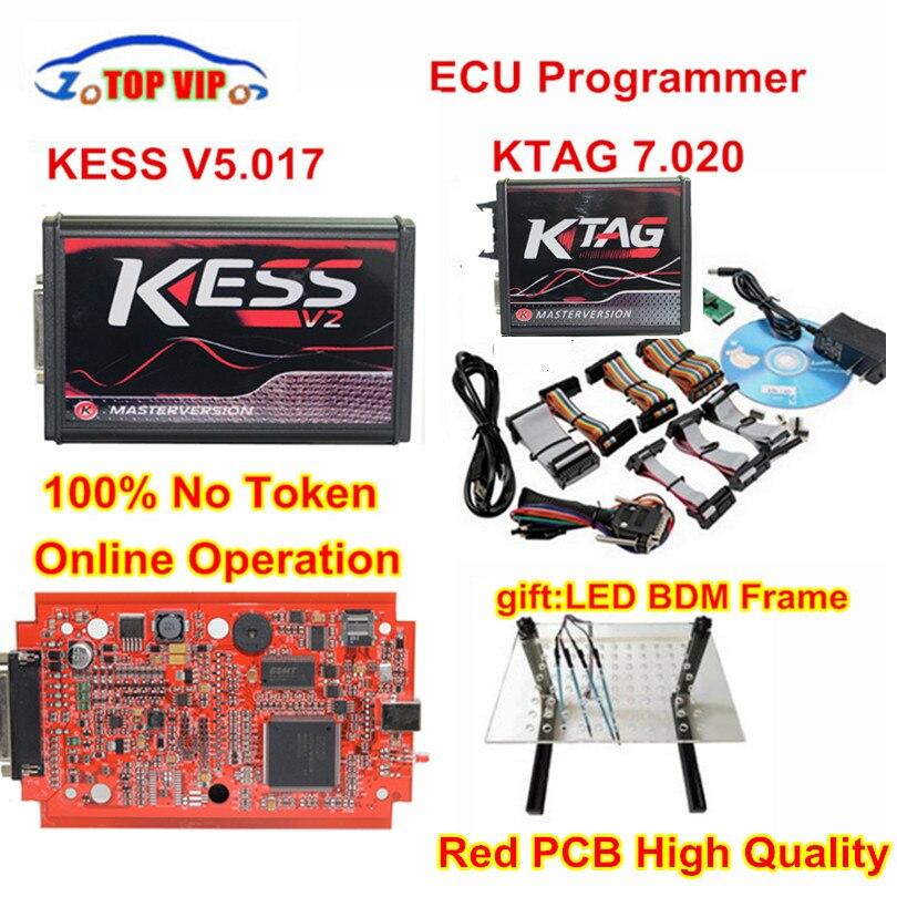 2018 Più Nuova Versione KTAG Online 7.020 No Gettoni Limitata Kess V2 5.017 OBD2 Gestione Sintonia Kit K-TAG 7.020 Maestro ECU programmatore