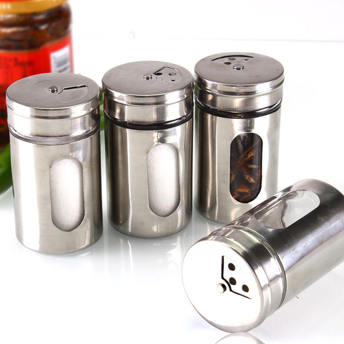1 Pcs Hot 4 Different Needs Rotating Holes Spice Jars Condiment Pot Salt Pepper Kitchen Storage Stainless Steel Glass Container