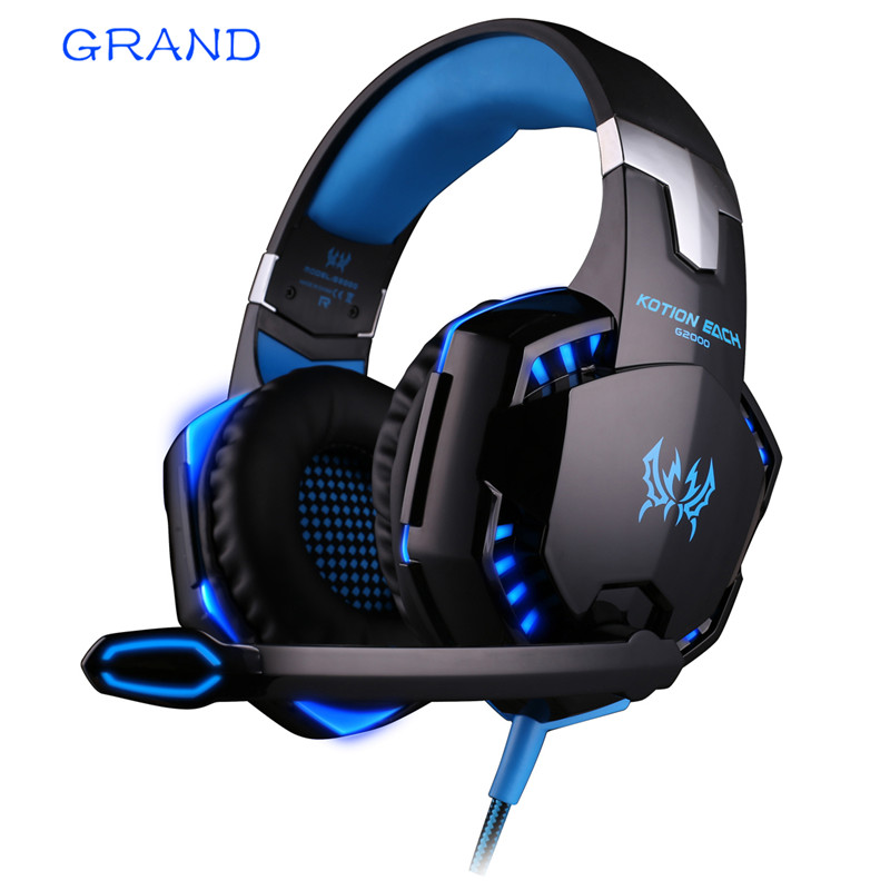 KOTION EACH G2000 Gaming Headset Wired Earphone Gamer With Microphone LED Noise Canceling Headphones for Computer PC salar t9 best gaming headset wired headband noise canceling headphones with microphone led light vibration for computer pc gamer