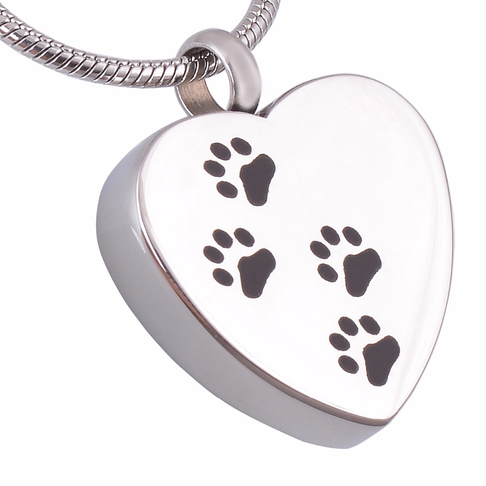 Hypoallergenic Personalized Pet Cremation Neckalce Pet Paw Dog Ashes Urn Locket Pendant Stainless Steel Name Engraved image