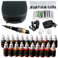 Tattoo 5 Color Eyebrow Pen Tattoo Kit Permanent Makeup Eyebrow Machine Set 23colors Tattoo ink Foot Pedal Switch Needle Tip