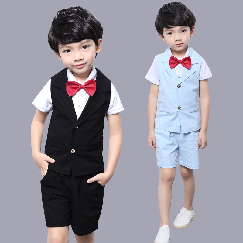 2018 Fashion Boys Clothes Set Short Sleeve T Shirt+Vest+Pant 3pcs Gentleman Suit for Boys Children Clothing Tracksuit for Boys new 2018 spring fashion baby boy clothes gentleman suit short sleeve stitching plaid vest and tie t shirt pants clothing set