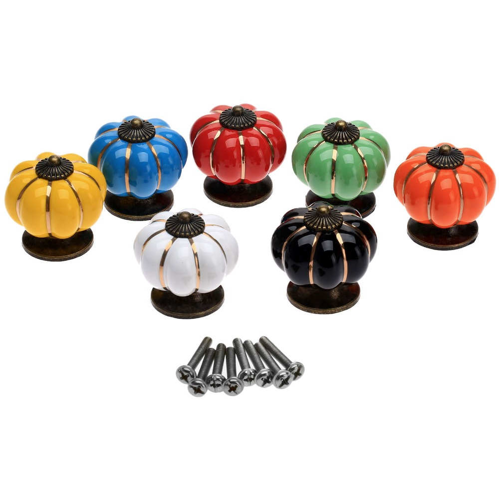 Vintage Cupboard Handles Pumpkins Knobs Ceramic Door Drawer Cabinet Pull Kitchen and 40mm
