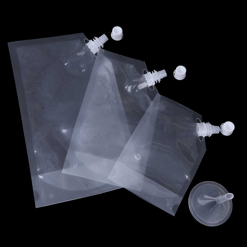 Bolsa de plástico con boquilla para jugo botella de vino líquido para bebidas BPA bolsas de agua de almacenamiento libre de embudo campamento de senderismo suministros de cocina