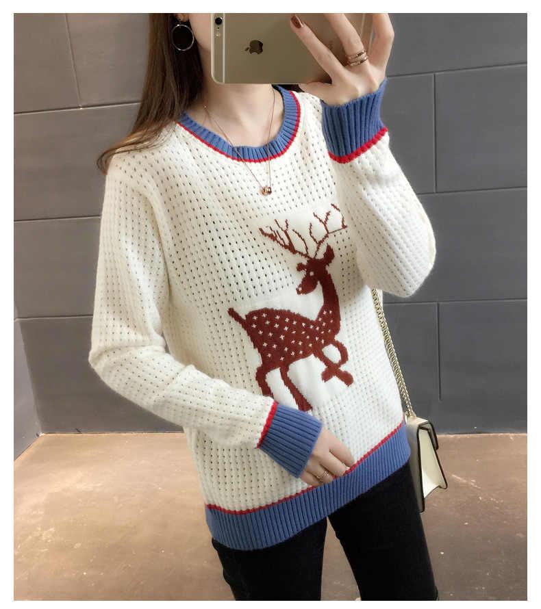 Chic олень жаккард О образным вырезом выдалбливать пуловер свитер Мори девушка 2018