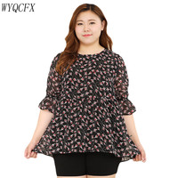 2019 Plus Size 10XL 9XL Summer Women Blouses Casual Floral Print O neck Women Tops Blouse Blusas Fashion Chiffon Elegant Shirt