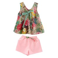 2018 Toddler Girl Summer Clothing Set Floral Rose Vest Shorts Pink Kids Clothes Girls Shirt Pants