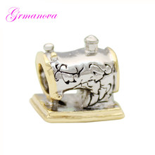 Classic fashion two-color retro sewing machine charm beads DIY handmade jewelry Fit Pandora Bracelet Necklace(China)