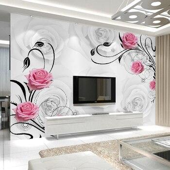 Custom 3D Rose Flowers Photo Wallpaper For Living Room Bedroom Sofa TV Background Wall Decoration Painting Art Mural