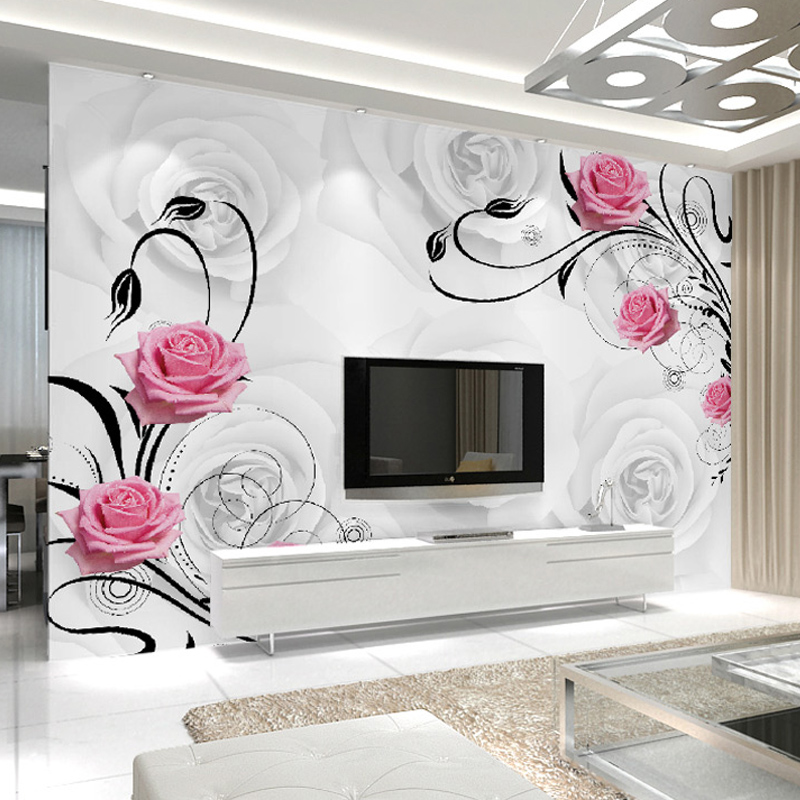 Customized 3D Flower Photo Wallpaper Living Room Bedroom Sofa TV Background Wallpaper Rose Flowers Wall Mural Wallpaper Roll