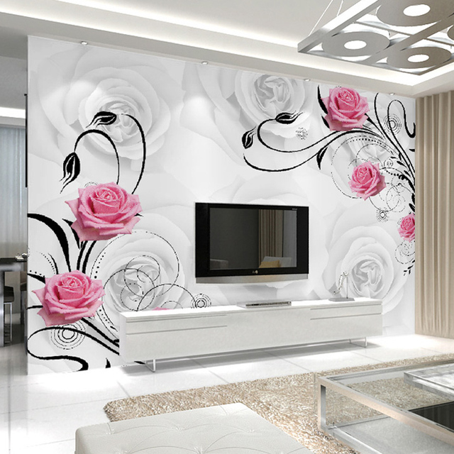 Customized 3D Flower Photo Wallpaper Living Room Bedroom Sofa TV Background  Wallpaper Rose Flowers Wall Mural Part 81