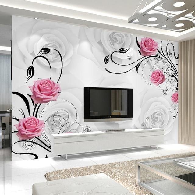 Aliexpress  Buy Customized 3D Flower Photo Wallpaper Living - 3d wallpaper for living room