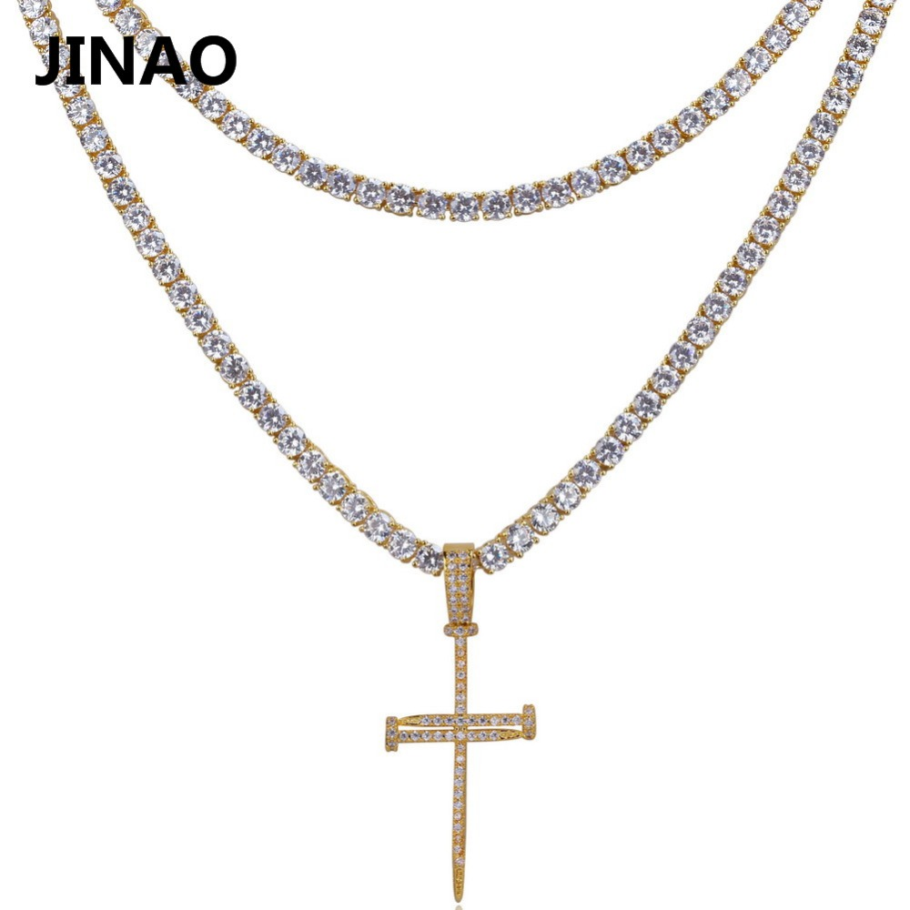 JINAO Nail Cross Pendant Necklace All Iced Out Micro Pave CZ Stones 2 Different Size Tennis Chains Pendant Necklaces. Best Gift all new all different avengers vol 2 standoff