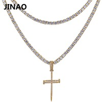 JINAO Nail Cross Pendant Necklace All Iced Out Micro Pave CZ Stones 2 Different Size Tennis