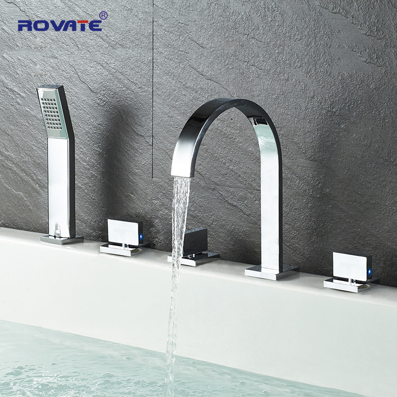 ROVATE Bathroom Bathtub Faucet  2 Mode Water Cold And Hot Mixer Crane,Bath Faucet With Hand Shower Brass Chrome Finished