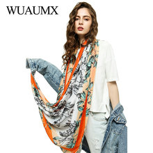 Wuaumx 2019 NEW Spring Autumn Scarf Women Leaves Print Hijab Thin Scarves Female Soft Ladies Shawl And Wrap foulard femme