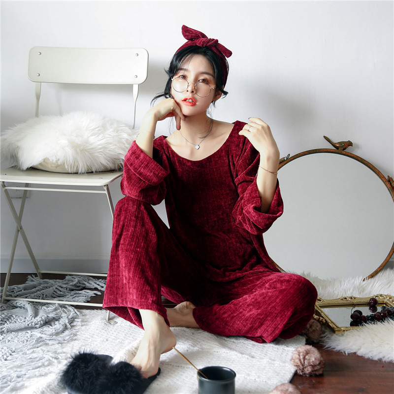 JULY'S SONG Woman Winter Flannel Pajamas Sets 2 Pieces Warm Pajamas Thick Sleepwear Woman Casual Homewear 39