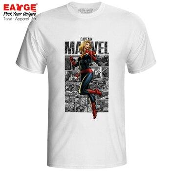 Charming Captain Marvel Superhero Comics Original Design สเก็ตสไตล์เสื้อ T ตลก Punk ผู้หญิงผู้ชาย Top Tee
