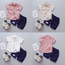 Children Infant Kid Boys Plaid Print Blouse Tops+Pants Formal Party Set Clothes FashionChildren's Set Baby Kids Clothes Costumes(China)