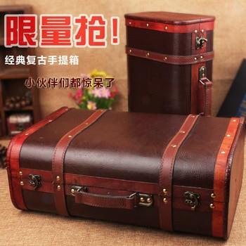 Hot dark brown retro suitcase C wooden box storage box factory sales window display props shooting
