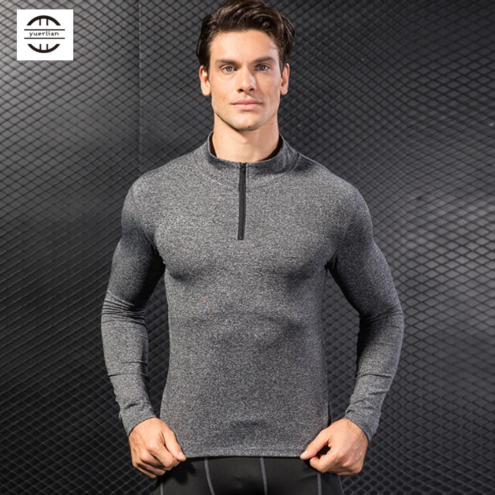 Yuerlian 1/4 Zip gym shirt men Quick Dry Running T Shirt Men Fitness Tight Sport Clothing Bodybuilding Mens Sweatshirt For