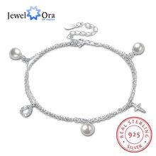 Promise 100% 925 Sterling Silver Pearl bracelet 2018 A Gift to Mom Silver-color For Women Trendy Lady jewelry ( jewelora )(China)