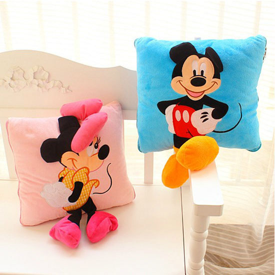 GGS 35cm Creative 3D Mickey & Minnie Mouse Plush Pillow Kawaii Mickey And Minnie Plush Toys Kids Toys Christmas Gifts