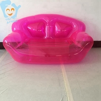 Home OutdoorInflatable Clear Pink Double Person Air Sofa  Bubble Chair Summer Water Beach Party Blow Up Couchs Lounger
