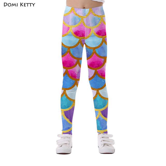 4a297d21720e3 Domi Ketty girls leggings print mermaid scale colorful kids casual fitness  high waist leggings children baby
