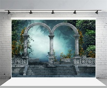 Laeacco Fairytale Flowers Garden Arch Gate Hazy Forest Photography Backgrounds Vinyl Customs Camera Backdrops For Photo Studio forest fairytale knits