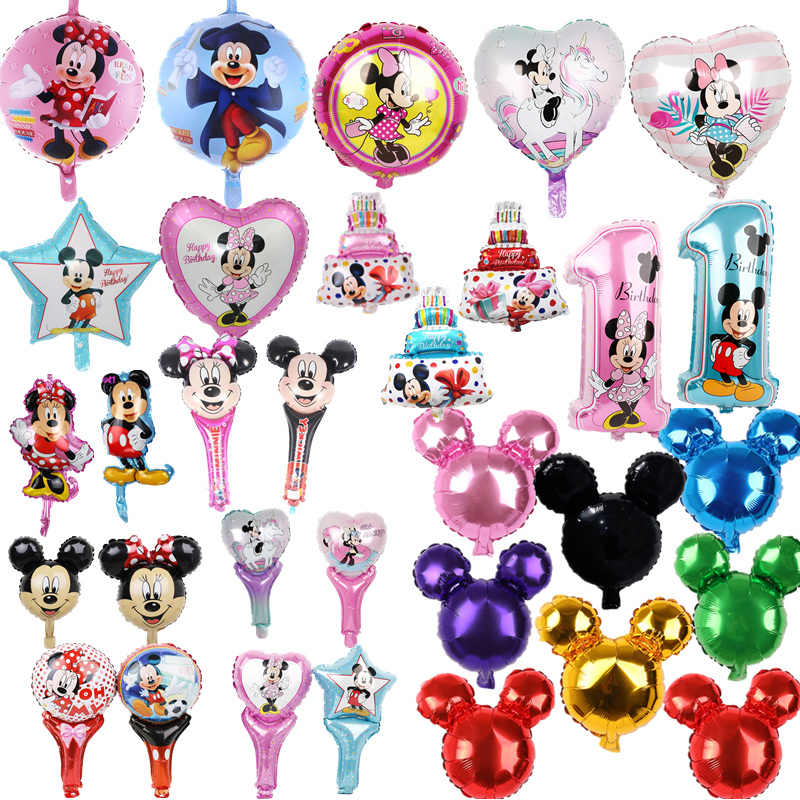 1 PC Mickey Minnie Foil Balon Ulang Tahun Pesta Baby Shower Boy Girl Globos Mickey Minnie Theme Perlengkapan Pesta Ballon
