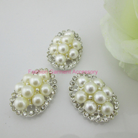 (CM640 20mm)50pcs Charming Clear Oval Flatback Rhinestone Ivory Pearl Button For Sewing Craft