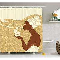 Vixm African Woman Shower Curtain Smiling Happy Afro Lady with Hot Coffee Cup Seeds Cocoa Vintage Fabric Bath Curtains