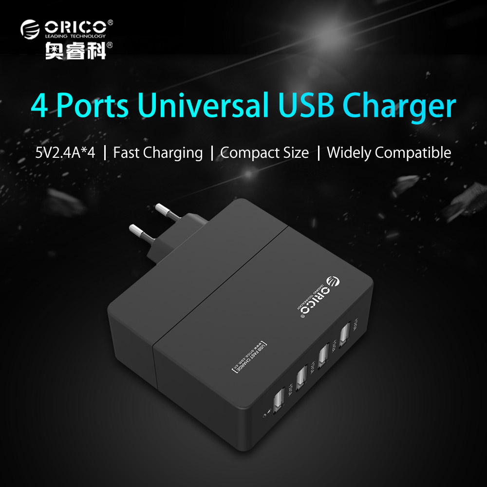 ORICO DCA-4U 6.8A Universal USB Charger 4-Port Smart USB Wall Charger Adapter 5V2.4A*4 34W for Smart Phone
