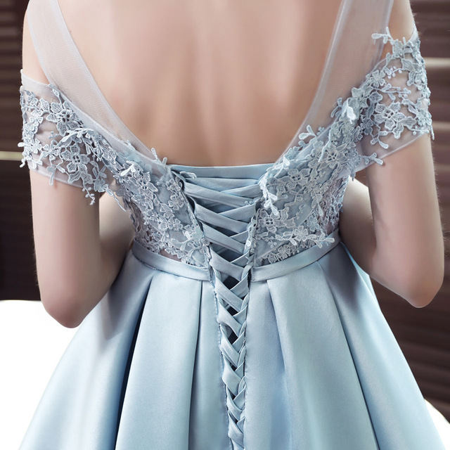 LAMYA 2019 New Short Sation Prom Dress Simple Lace Boat Neck Formal Evening Party Dresses Custiom Size Vestido de Festa Curto 6