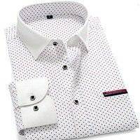 AOYOUKU Camisa Designer de Marca para Os Homens 100% Algodão Grandes Tamanhos Plus 4XL 5XL Casual Elegante Polka Dot Branco Primavera Verão 2018 AYH1XX