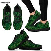 INSTANTARTS Green Modern Digital Camouflage Pattern Running Shoes Women Men Summer Sports Shoes Adults Breathable Gym Sneakers